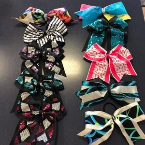 Cheer Bows lot of 10 Assorted multi color